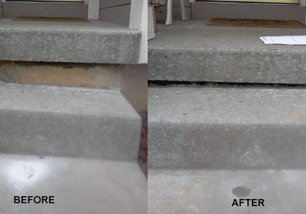 Slab jacking stairs before and after Maine